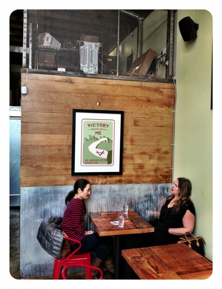 Always nice to see our framing work in the field... Looks pretty good in there! :-) Kudos to Victory Burger for opening up a beautiful shop with some tasty, tasty burgers (if we do say so ourselves).
